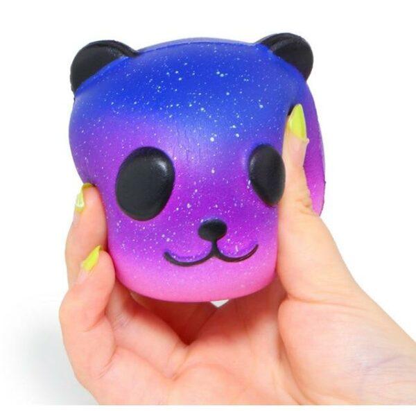 Squishy Tête de Panda Galaxy violet écrasé