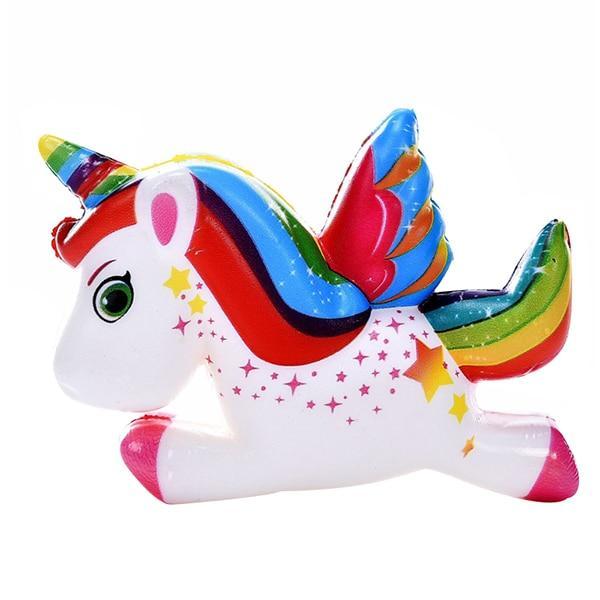 Squishy licorne volante multicolore
