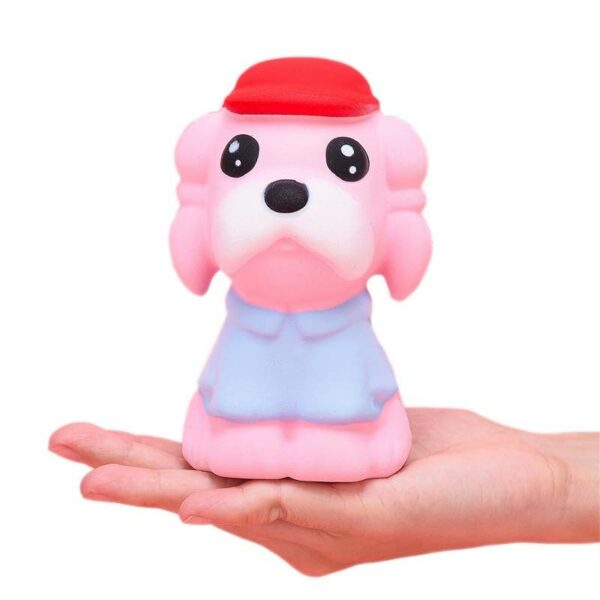 squishy chien kawaii rose dans la main
