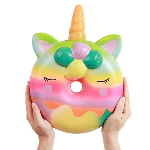 squishy geant donut licorne multicolore