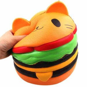 squishy géant chat hamburger écrasé