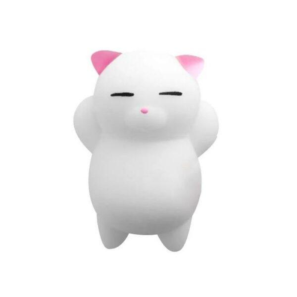 squishy mochi chat blanc oreilles roses