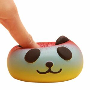 squishy tete de panda multicolore écrasé