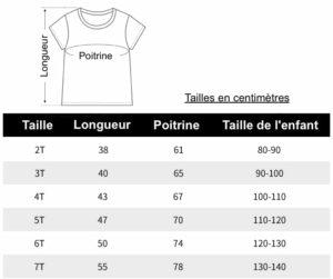 tableau des tailles t-shirts